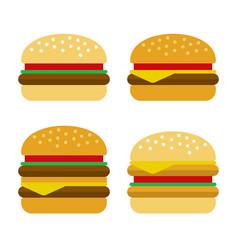 burger icon set flat style vector image