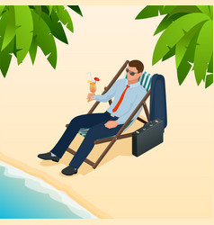businessman relaxing on his sun lounger on the vector image vector image