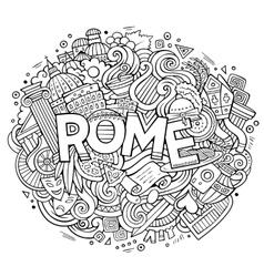 Cartoon cute doodles hand drawn rome inscription vector
