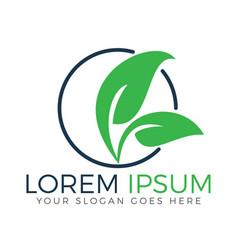 logo of green leaf ecology nature element vector image