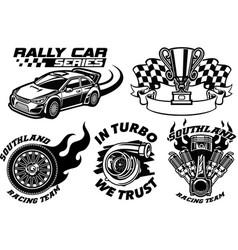 racing badge design set vector image