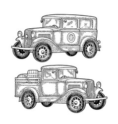retro police car and pickup truck with barrel vector image vector image