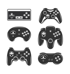 retro video games joystick set vintage vector image
