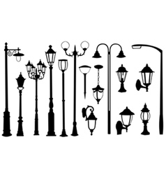 street light silhouettes vector image vector image