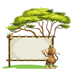 An empty signage with a monkey and a bee vector image vector image
