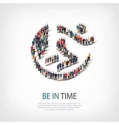 be in time people sign 3d vector image