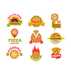 delivery pizza logo badge pizzeria vector image vector image