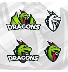 Dragon logo template sport mascot design college vector