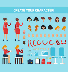 female character constructor flat composition vector image