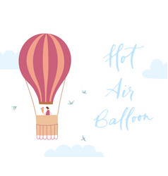 hot air balloon with girl vector image