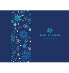 Night snowflakes horizontal frame seamless pattern vector image