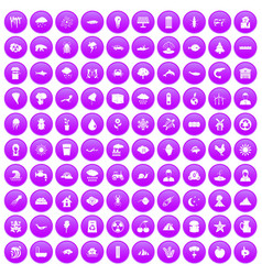 100 earth icons set purple vector image