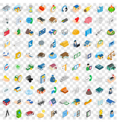 100 home repair icons set isometric 3d style vector image