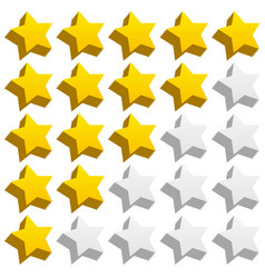 3d rating stars with jaggy effect vector image