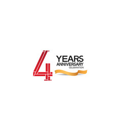 4 years anniversary template with red color vector