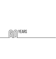 60 years anniversary or birthday linear outline vector image