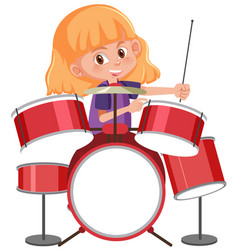 a gitl playing drum vector image