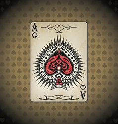 Ace of spades poker cards old look vintage vector image