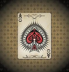 Ace spades poker cards old look vintage vector
