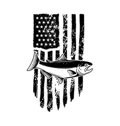 american flag with salmon fish design element vector image