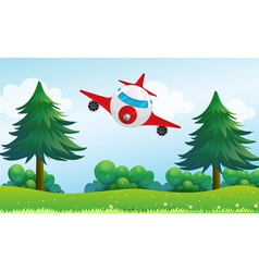 An airplane above the hills vector image vector image