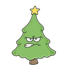 Angry christmas tree cartoon character vector