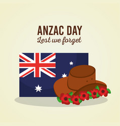 anzac day lest we forget australian flag hat vector image