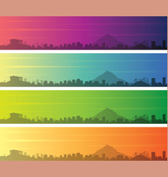 athens multiple color gradient skyline banner vector image