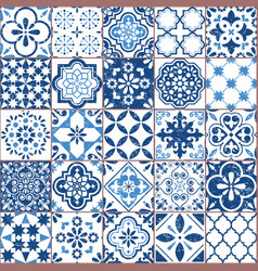 azulejo tile pattern portuguese or spanish vector image