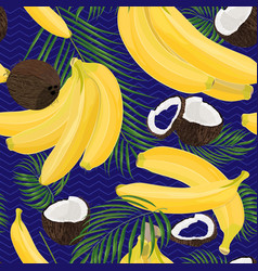 Banana coconut whole and pieces with palm leaves vector