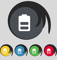 Battery half level Low electricity icon sign vector image