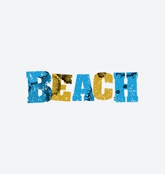 beach concept stamped word art vector image