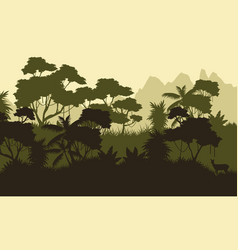 Beauty landscape forest silhouette style vector