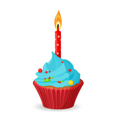 Birthday cupcake with one burning candle blue vector