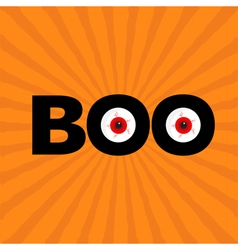Black word boo text with red eyes evil eyeballs vector