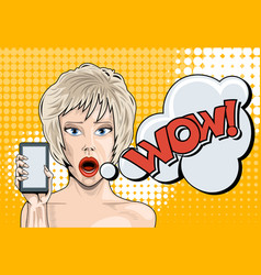 blonde with a surprised face and a smartphone in vector image