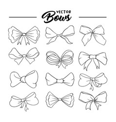 bows hand drawn contour set vector image