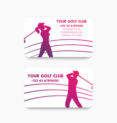 business card design for golf club with golfers vector image
