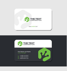 business card with hexagonal green frog leg vector image