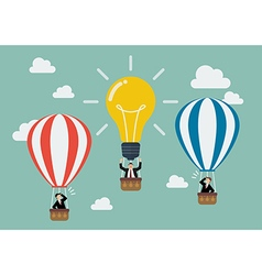 Businessman in lightbulb balloon fly pass his vector