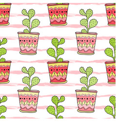 Cactuses seamless pattern colorful cartoon vector