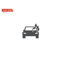 car fired vehicle insurance icon flat pictograph vector image