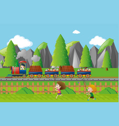 cargo train on the track vector image
