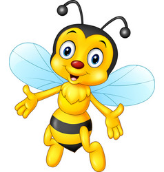 cartoon happy bee isolated on white background vector image