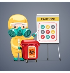 Caution Biohazard Poster with Doctor and Flipchart vector