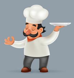 Chef cook serving food realistic cartoon character vector