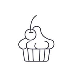 cherry dessert line icon concept cherry dessert vector image
