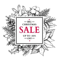 Christmas sale banner wreath hand drawn vector image