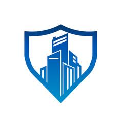 City buildings shield security logo icon vector