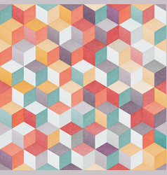 Colored cube seamless pattern vector